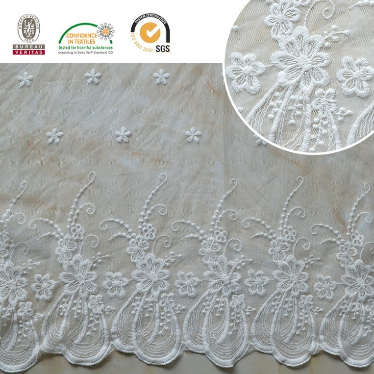 High Quality Embroidery Lace Fabric Polyester Trimming Fancy Melt Polyster Lace for Garments & Home Textiles E30022 pictures & photos
