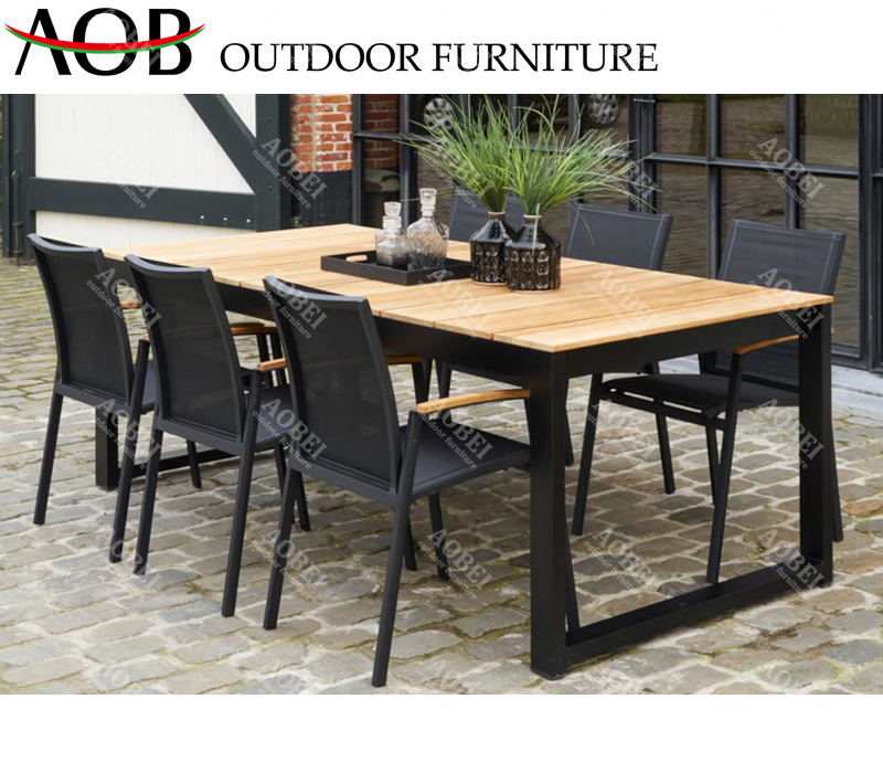 China Modern Exterior Outdoor Garden Patio Home Hotel Resort Villa Restaurant Dining Set Chair Table Furniture With Teak China Outdoor Furniture Dining Furniture