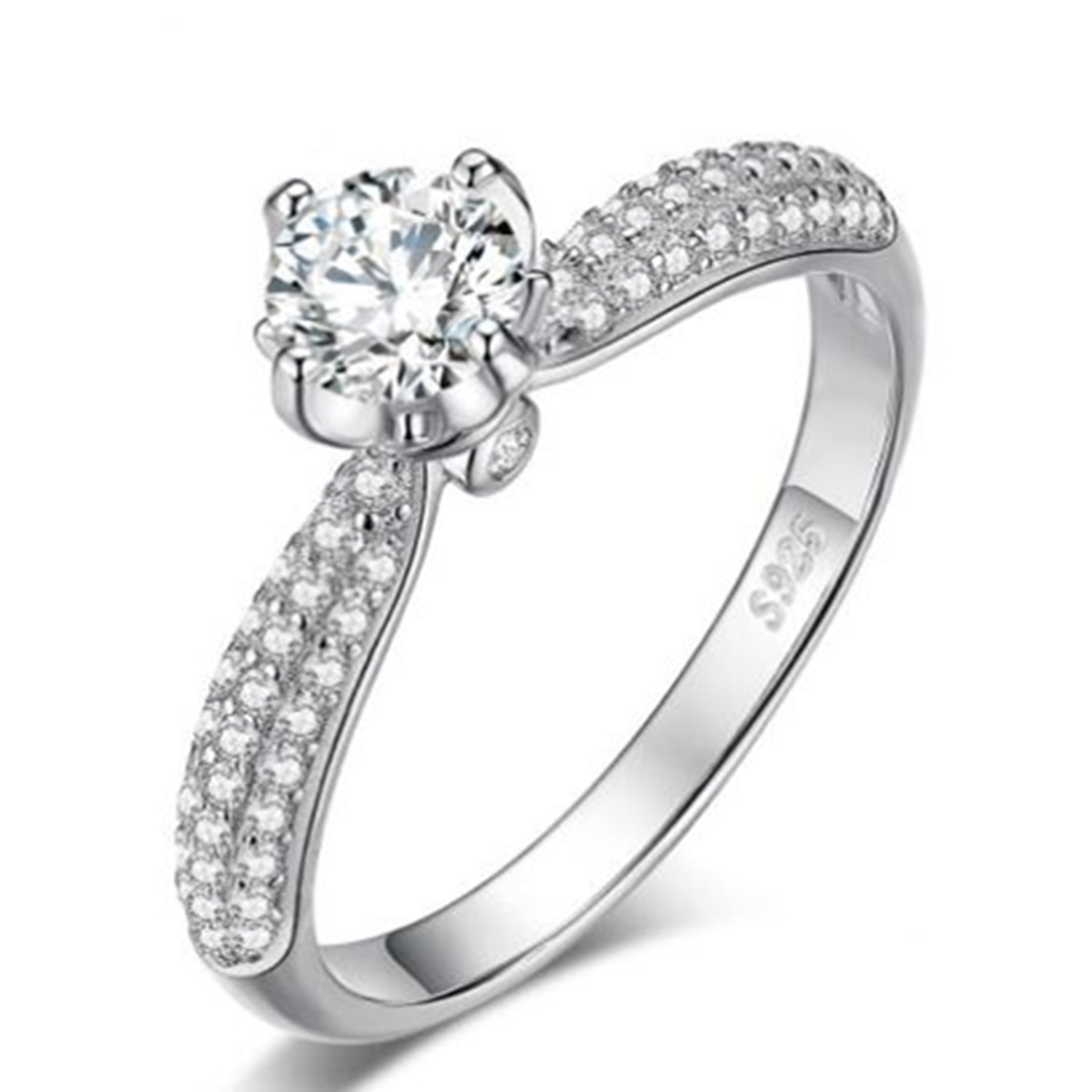 China Classic Solitaire Cubic Zirconia Engagement Ring 925 Sterling Silver Trendy Ring Women Jewelry China Solitaire Ring And Engagement Ring Price