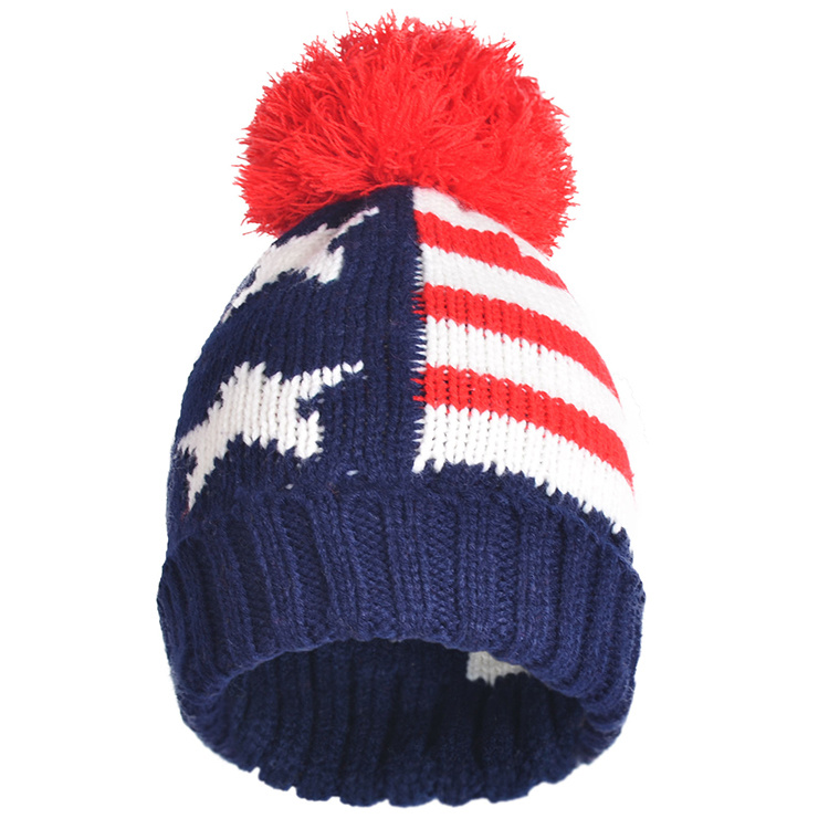b821ae31f898e Winter Hats Mix Colors Knitted Acrylic Big POM Poms Beanies Skull Caps