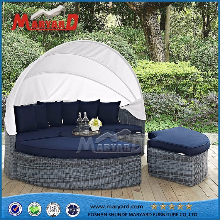 China Garden Treasures Patio Furniture Company Wholesale Round Wicker Sofa Bed China Outdoor Wicker Furniture Round Daybed With Tent