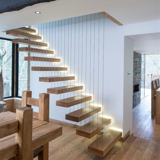 New Design Wooden Box Tread Led Stair Floating Staircase For