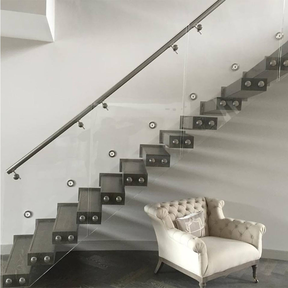 Merveilleux Easy Installation Glass Stair Railing With Stainless Steel Standoff Holder