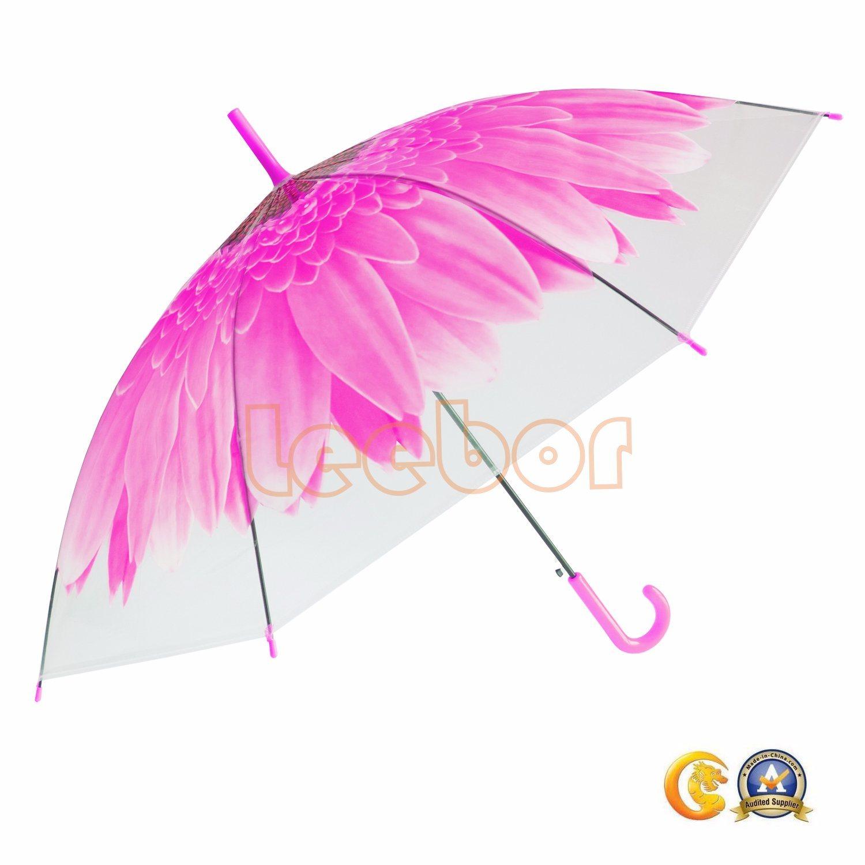 614552d315c97 China Pink Flower Print Poe Umbrella, Hook Handle, Auto Open, Transparent Rain  Umbrella - China Auto Open, Transparent Umbrella