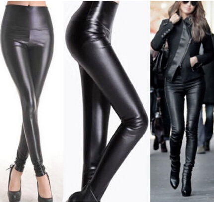 7a3b22033b35f Sexy Ladies High Waist Wet Look Faux Imitation Leather Leggings (SR8207-1)