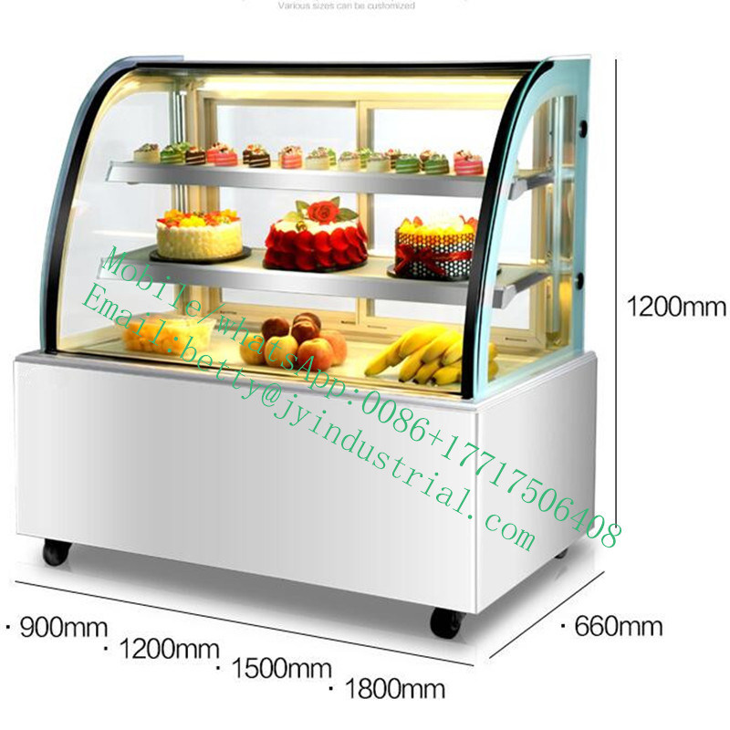 China Curved Glass Cake Display Refrigerator Counter Butchery Fridge