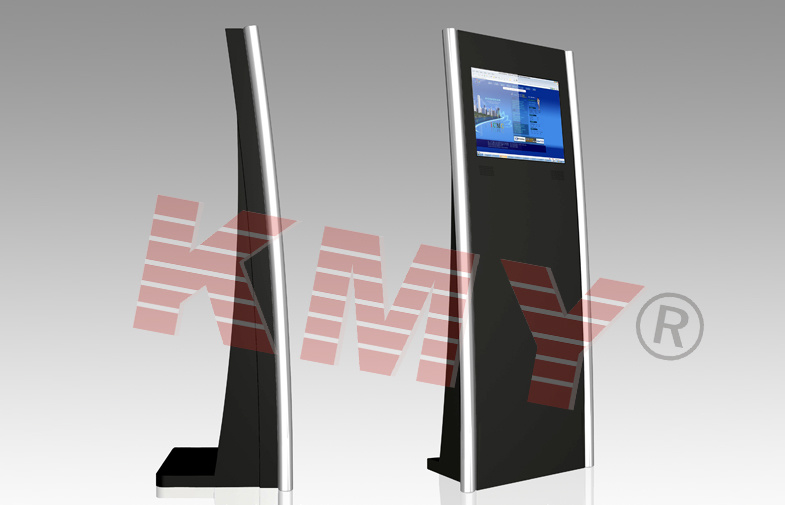Slim Touch Screen Kiosk with Laptop Keyboard and Plastic Trackball