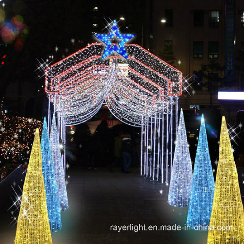 led 3d cone motif curtain light outdoor christmas decorations