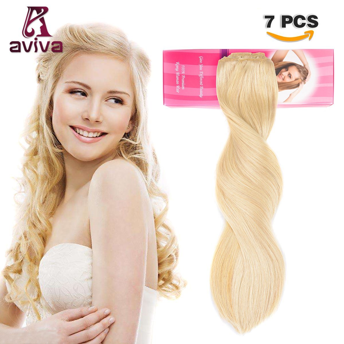 China Bleach Blonde Color 613 Clip In Human Hair Extension