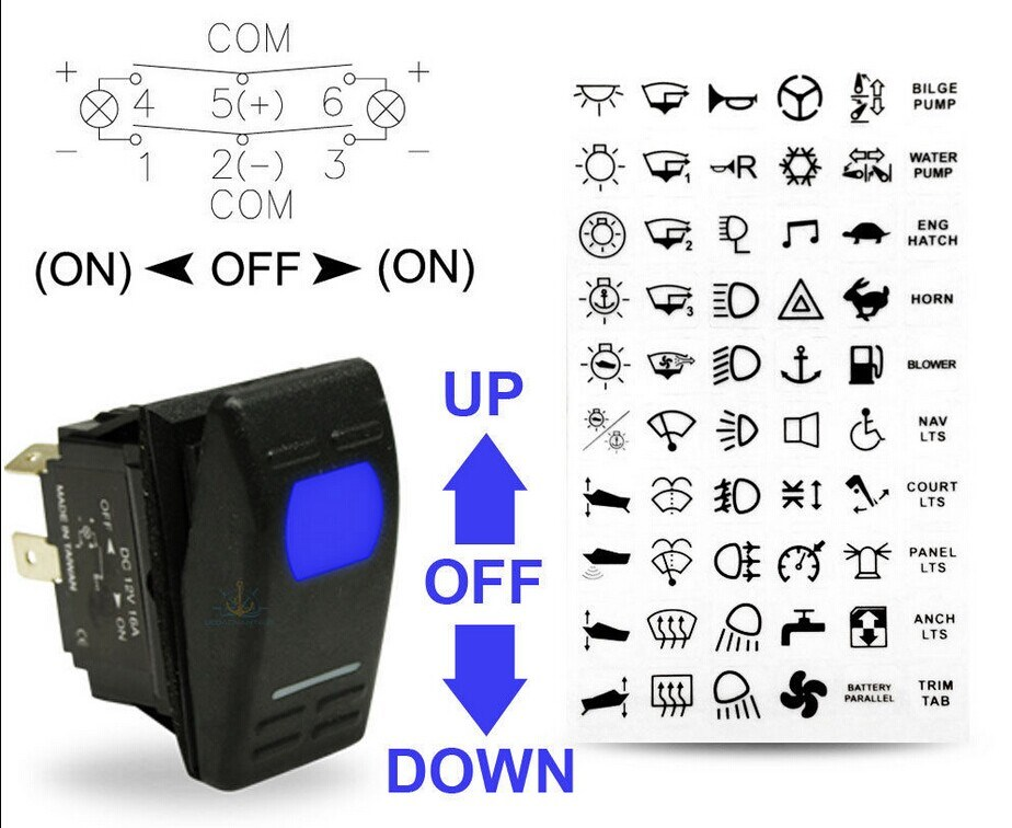 Trim Tab Toggle Switch 3 Pos Up Down Momentary On//Off//Momentary On Boat Marine
