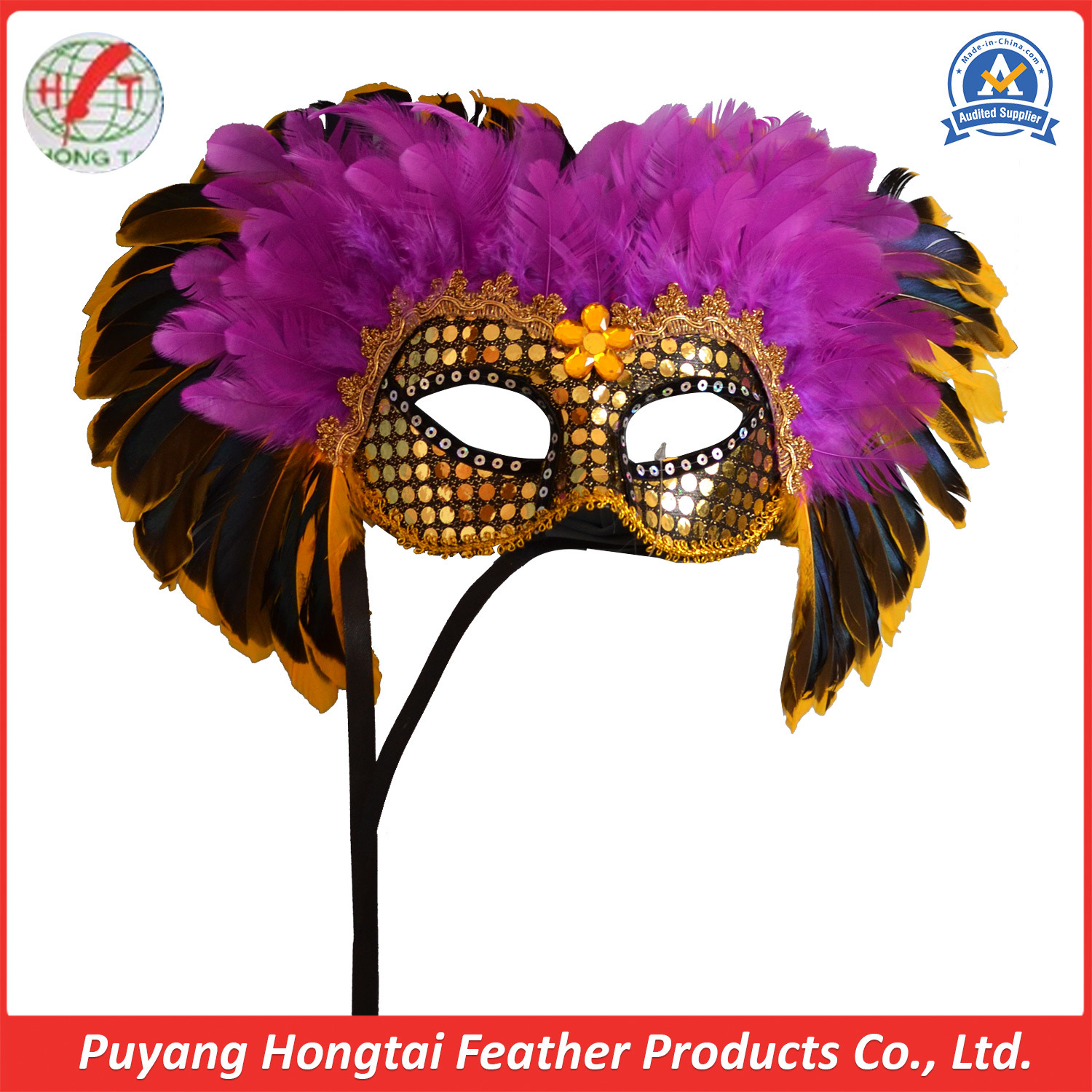 NEW Express Post Venetian Party Masquerade Face Mask Black With Feathers
