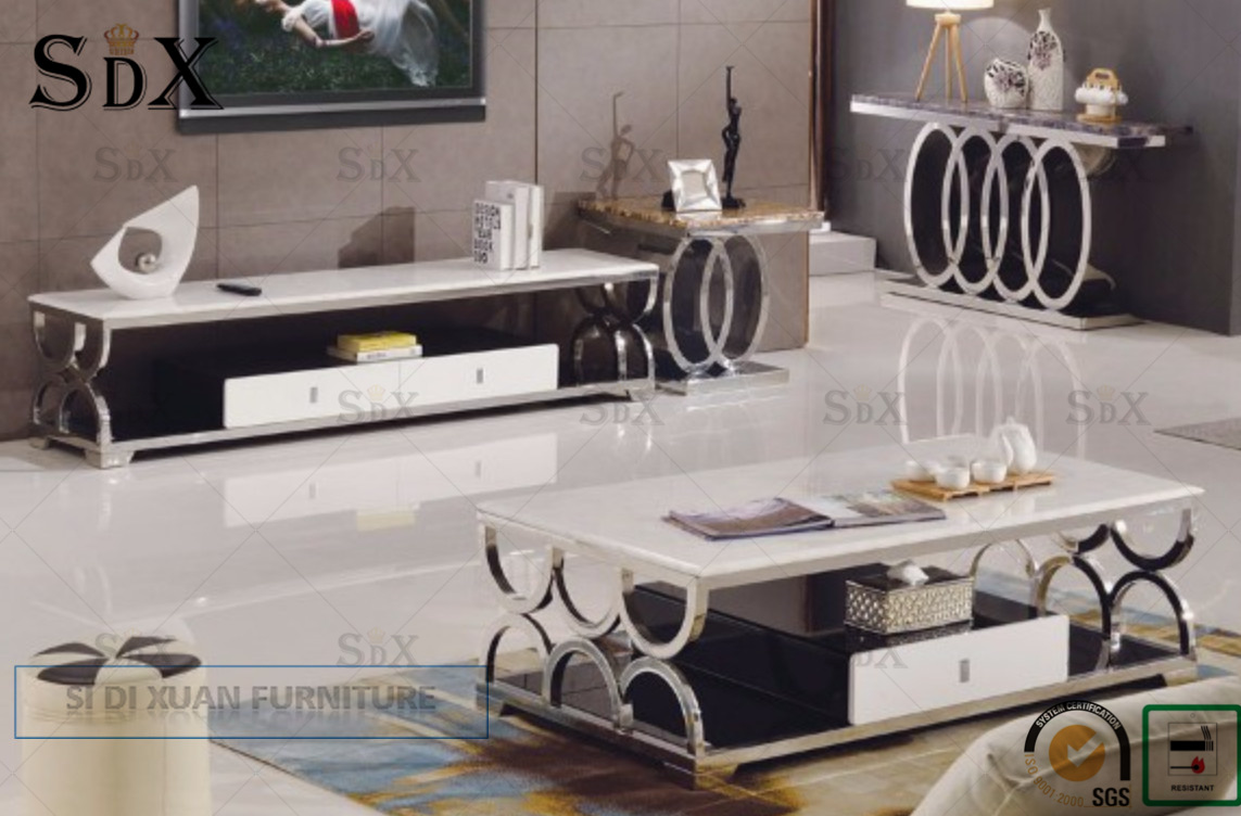 [Hot Item] Modern Audi Style Living Dining Room Furniture Console Table  Stainless Steel Frame Marble Top