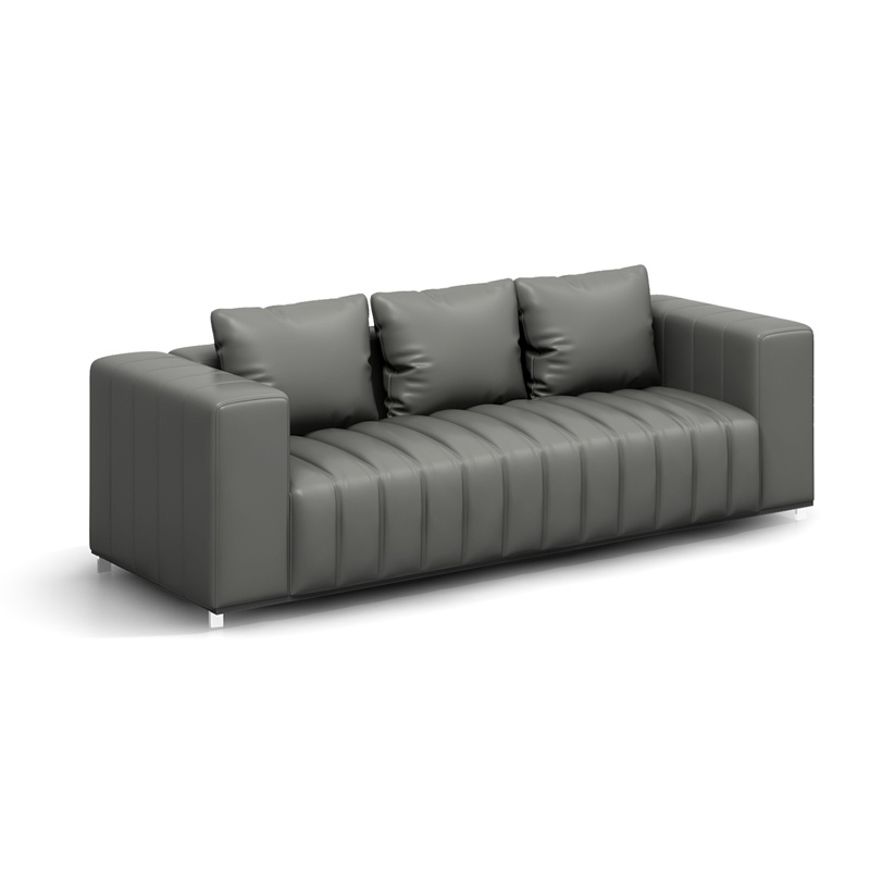 China New Model Design Office Furniture Office Grey PU Leather Three Seat Sofa - China Office Sofa, 3 Seat Sofa