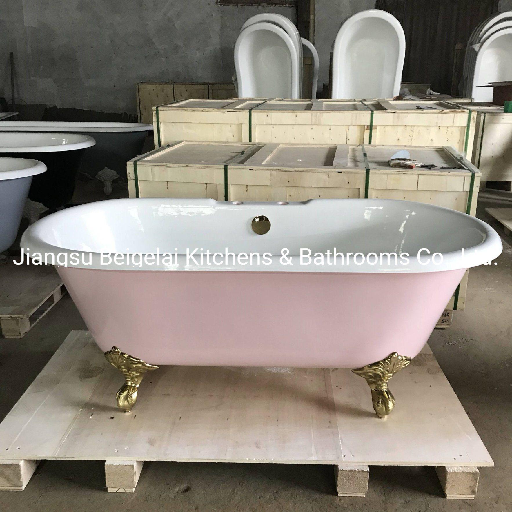 China Home Used Decorative Pink Roll Top Cast Iron Claw Foot Bath Tub With Custom Made China Freestanding Bath Cast Iron Bathtub