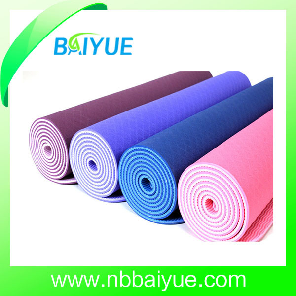 China Hot Sale Cheap Price Dural Color Layer Anti Slip Tpe Yoga Mat China Yoga Matt And Body Building Price