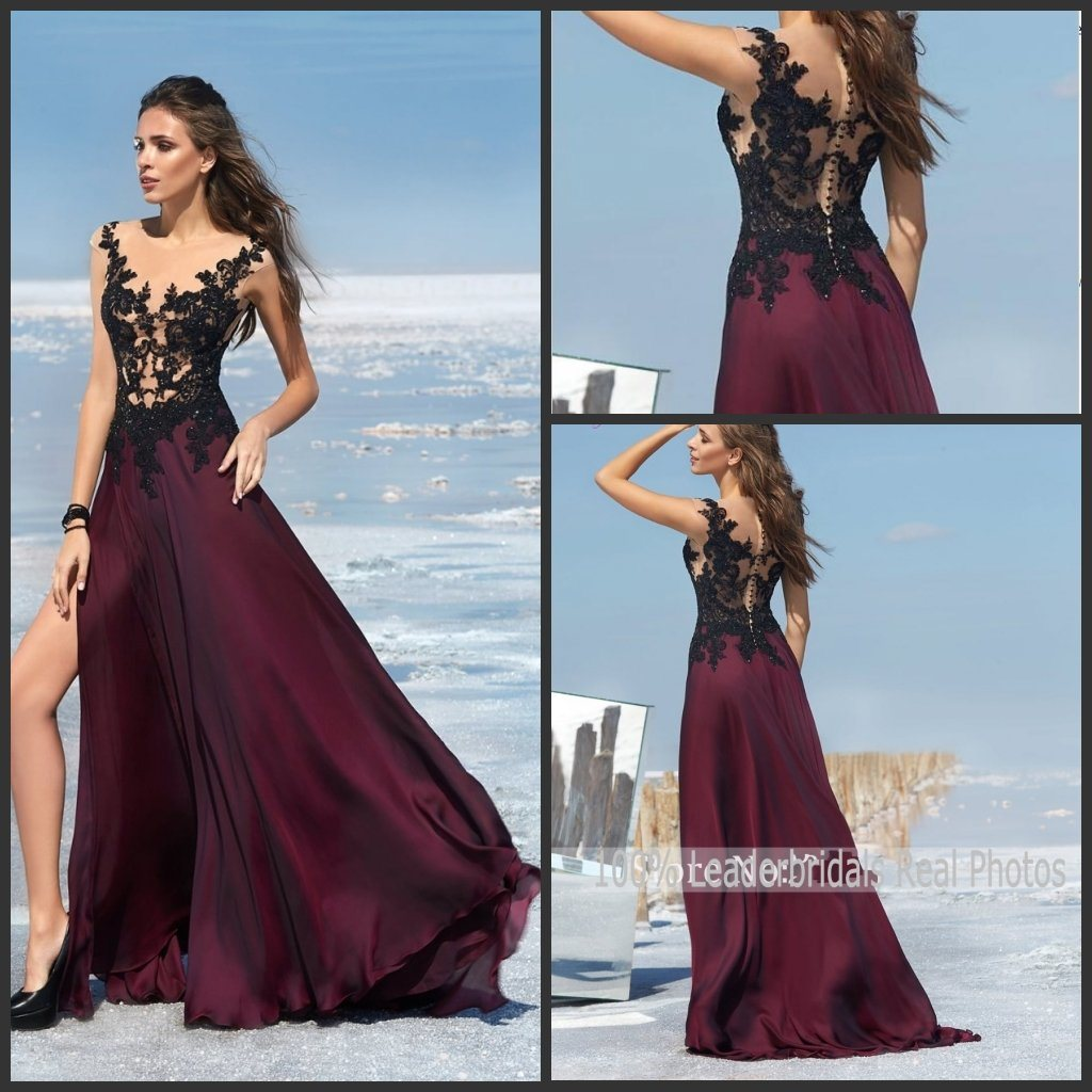 Wine Party Prom Gowns Black Lace Evening Dress Ld152921