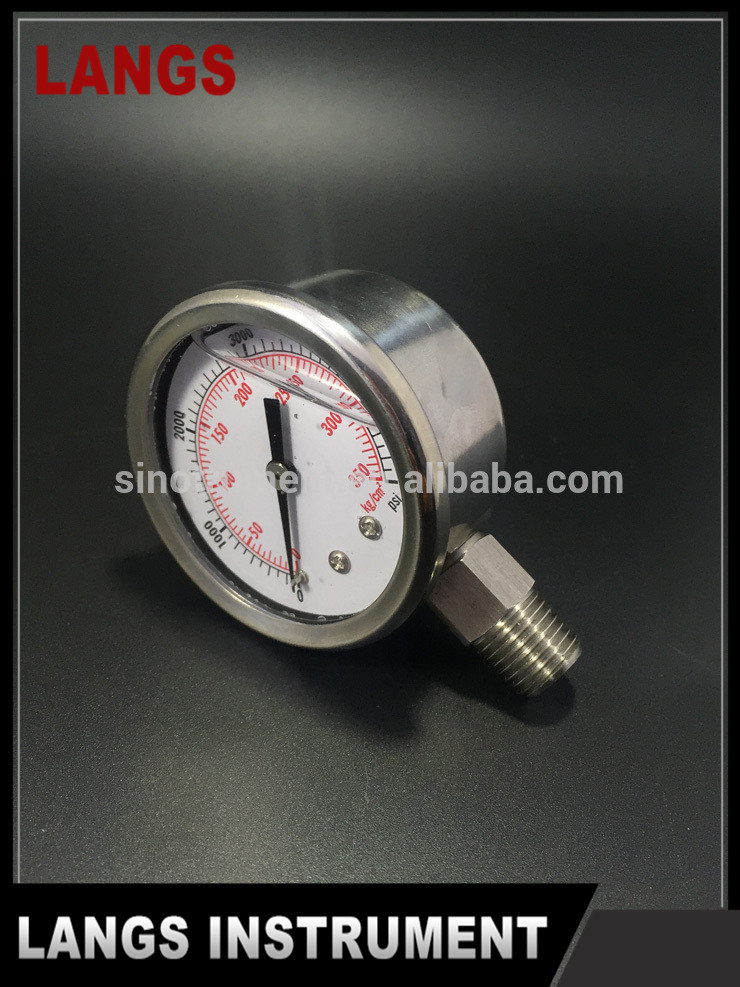 036 50mm Stainless Steel Crimped Bezel Liquid Filled Pressure Gauge