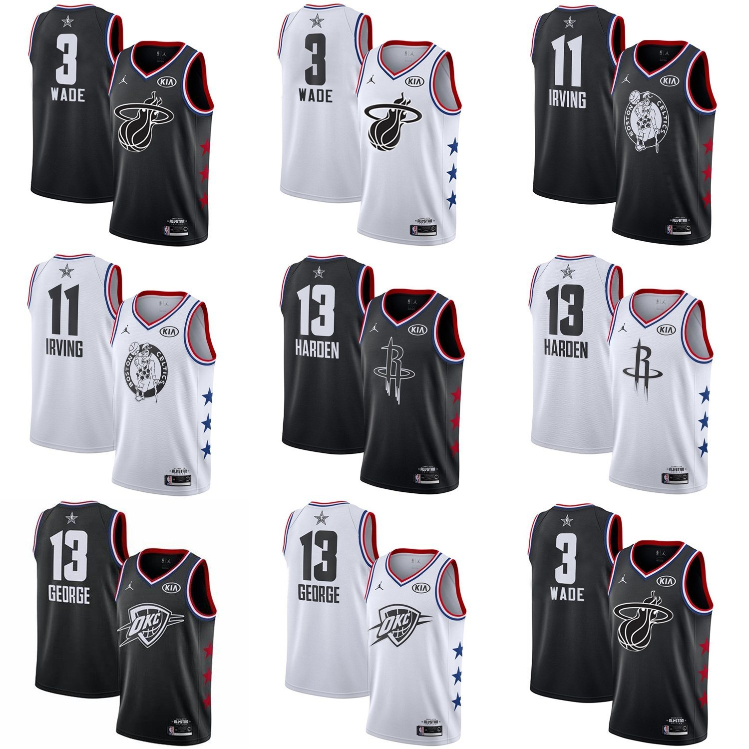 reputable site 39160 03759 [Hot Item] 2019 All-Star Dwyane Wade Kyrie Irving Harden George Basketball  Jerseys
