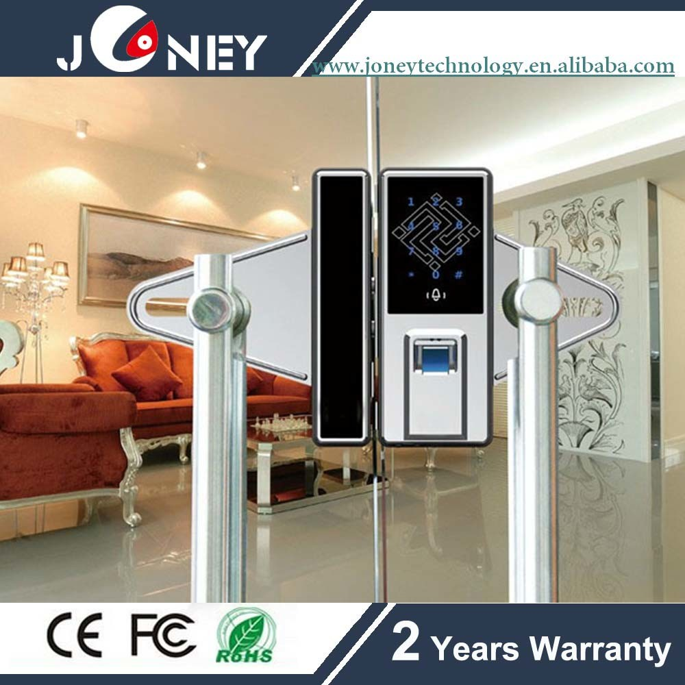China Fingerprint Glass Door Lock System With Multiple Unlock Way Biometric