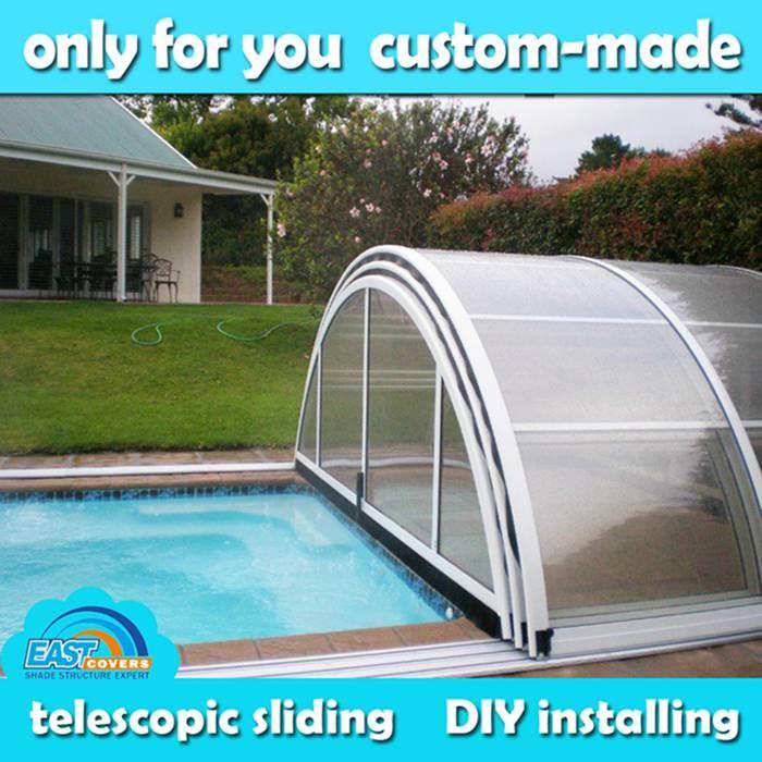 China Retractable Pool Enclosure Of Aluminium Alloy And Pc Board China Pool Enclosure And Pool Cover Price