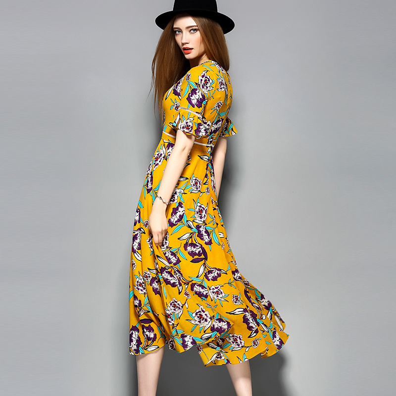 Boho Yellow Printed Women Long Dress with Button pictures & photos