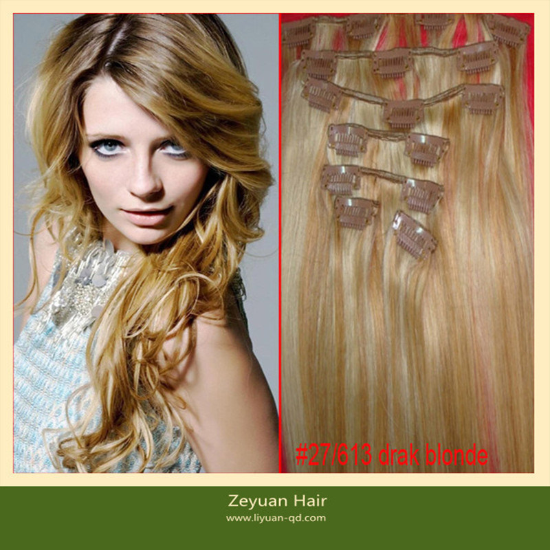 China Brazilian Human Hair Clip In Hair Curly Blonde Hair Extensions