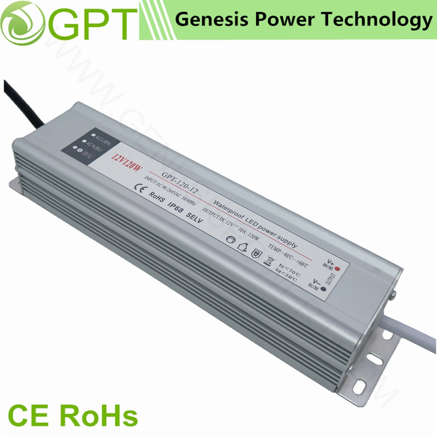 120W 24V 5A Switch Mode Waterproof Power Converters Supplies Outdoor IP67, Single Output LED Driver Light Power Supply Aluminum Shell Slim LED Transformer pictures & photos