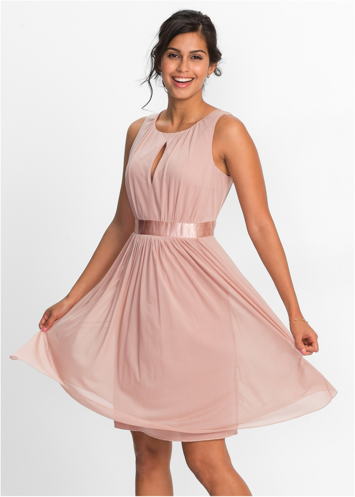 China Ladies Poly Elastane Chiffon Sleeveless Party Dresses - China ...
