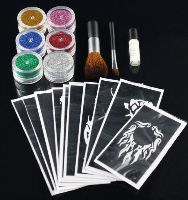 New 10 Colors Temporary Shimmer Glitter Tattoo Kit pictures & photos