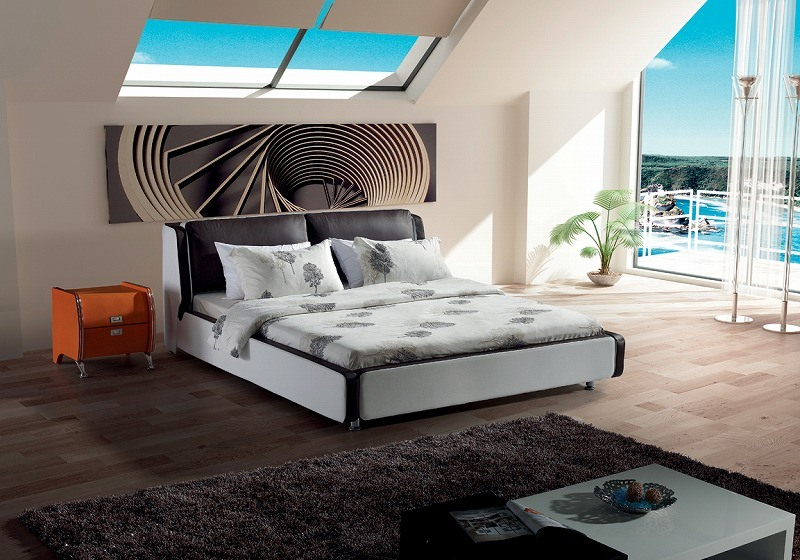 Simple Bed Room Genuine Leather Bed (SBT-5801)