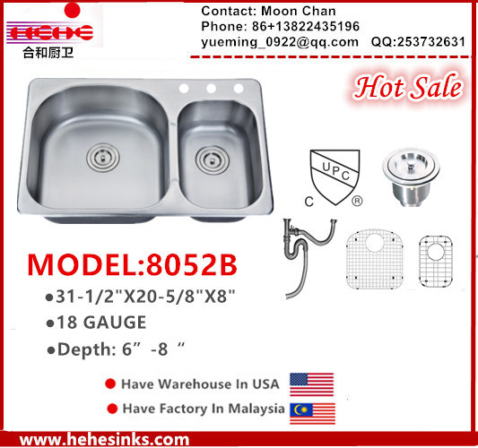 Stainless Steel Sink, Topmount 70/30 Double Sink, Kitchen Sink, Handmade  Sink