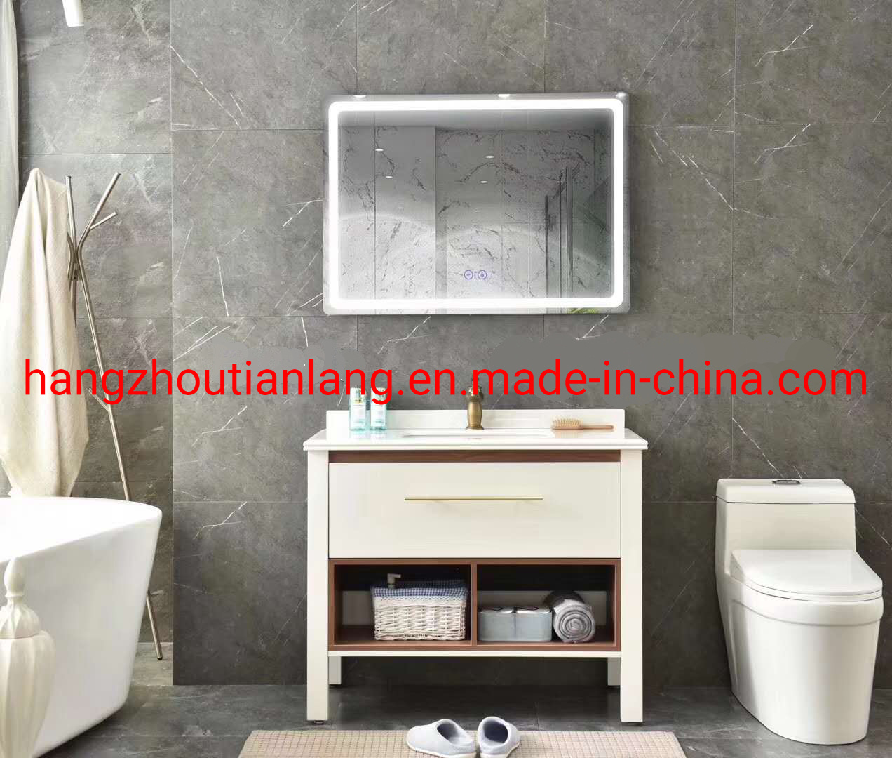 China Solid Wood Bathroom Cabinet Modern Furniture Floor Cabinet China Bathroom Vanity Bath Cabinet
