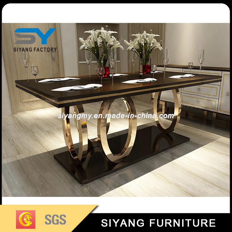 Luxury Gold Metal Leg Black Glass Top Dining Table