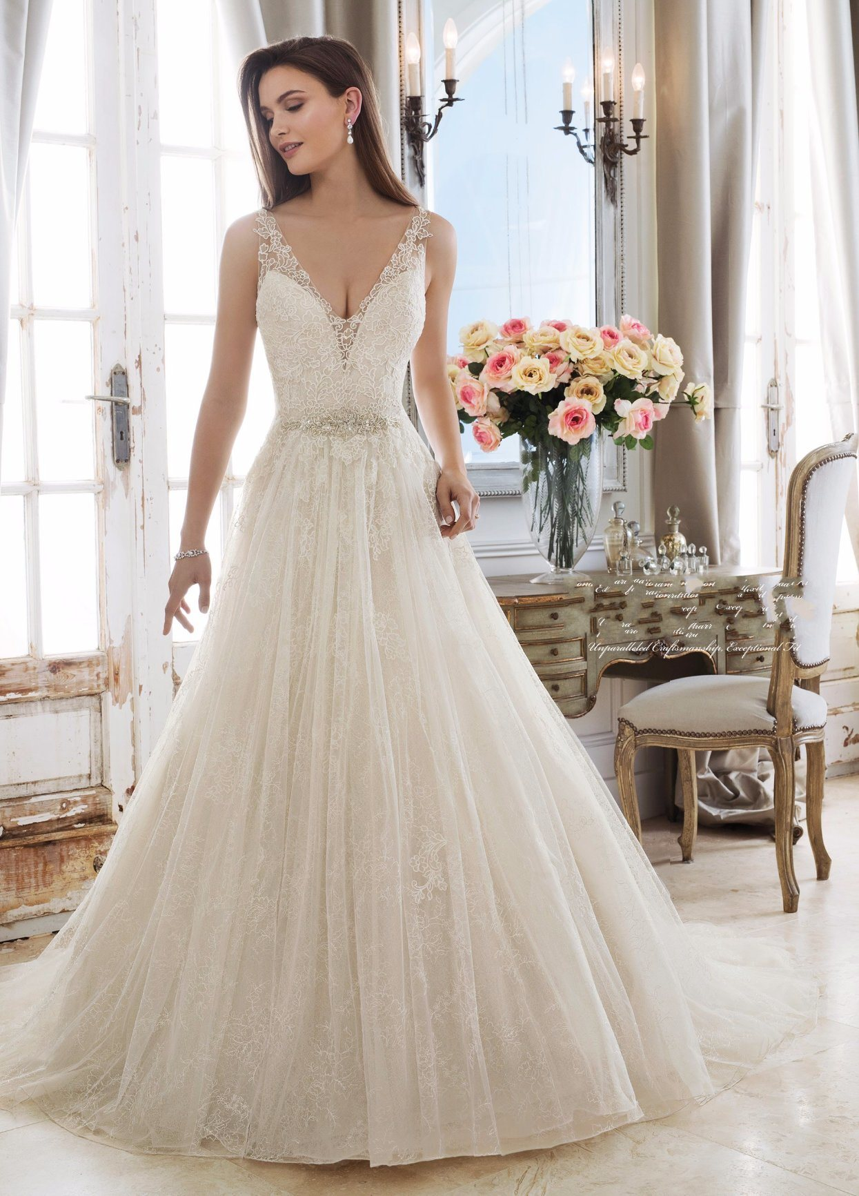 China Sleeveless Wedding Gowns Lace Tulle A-Line Bridal Dresses 2018 ...