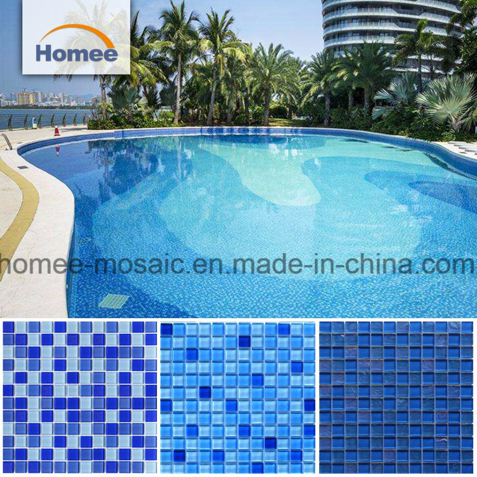 China Cheap Ocean Blue Swimming Pool Tiles Iridescent Crackle Wave ...