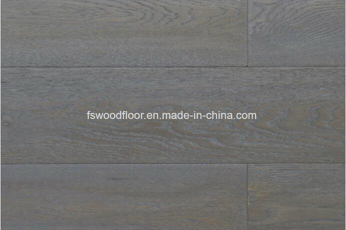 China Limed Wire Brushed Dark Grey Oak Wide Plank Engineered