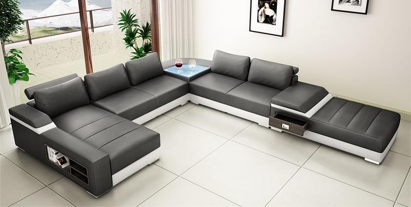 Hot Item Sale Good Black Color U Shape Sectional Leather Sofa Furniture