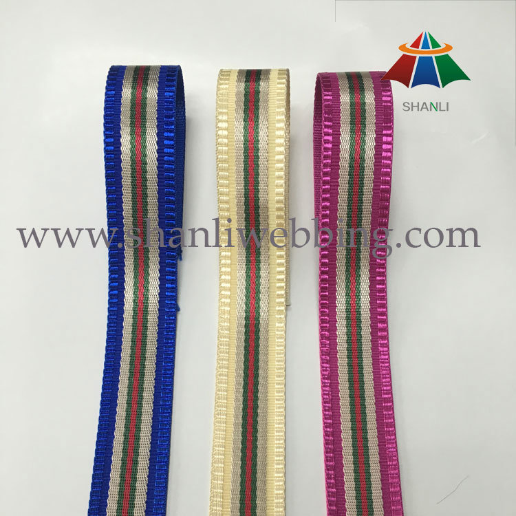 Best Selling 38mm Striped Polyester Nylon Jacquard Webbing
