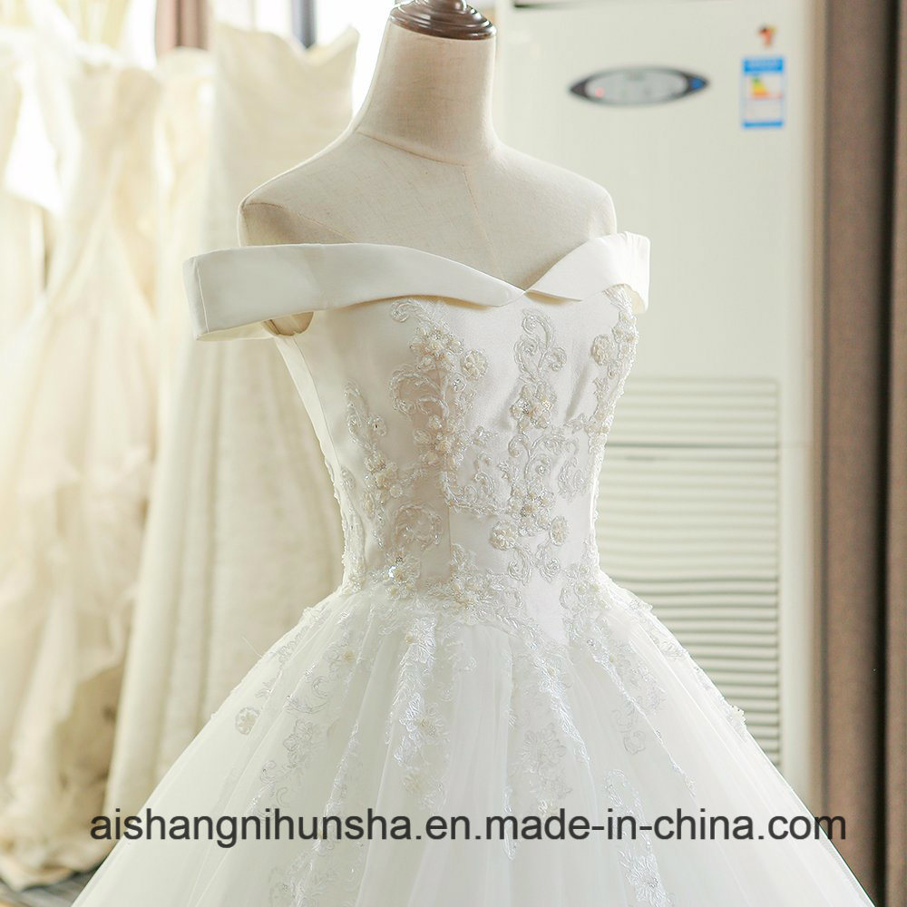 2017 Lace Backless Wedding Dresses Chiffon Applique Beading Bridal Gown pictures & photos