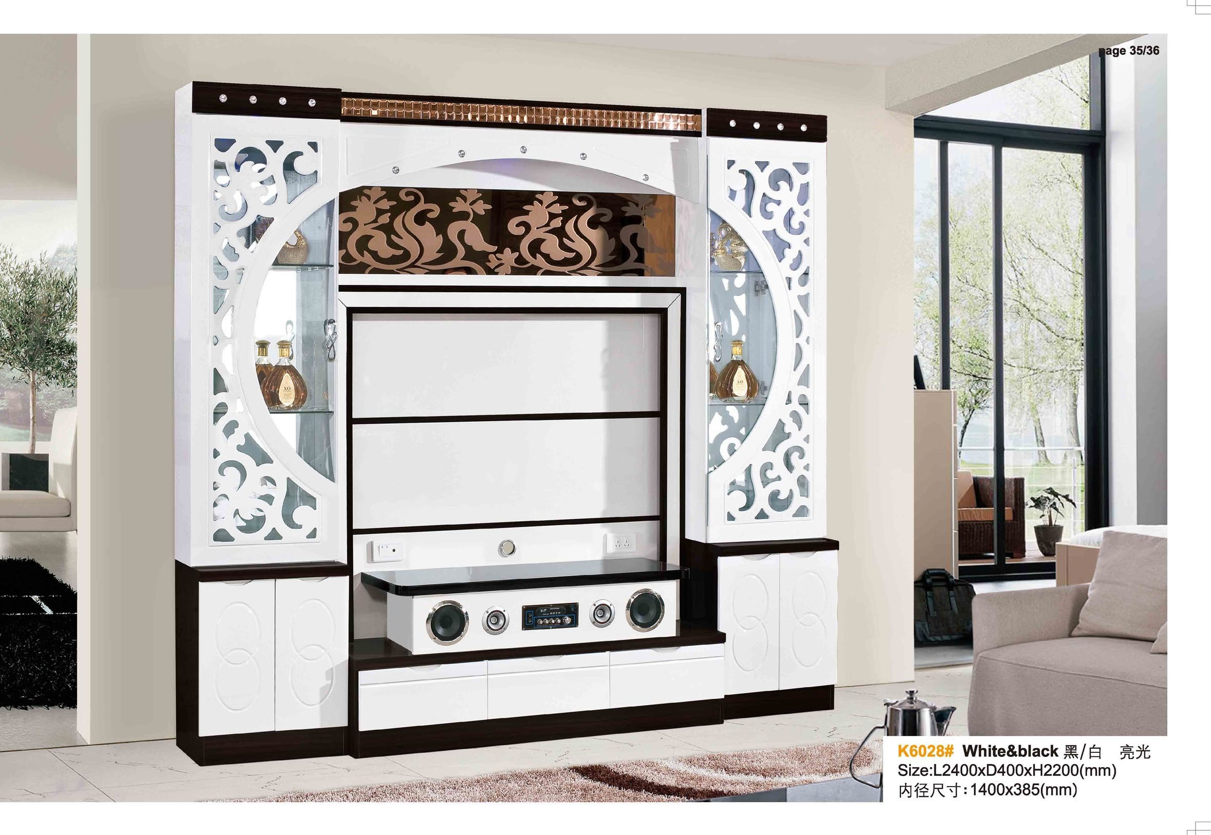 China White Black Wooden Corner Tv Cabinets With Glass Doors China