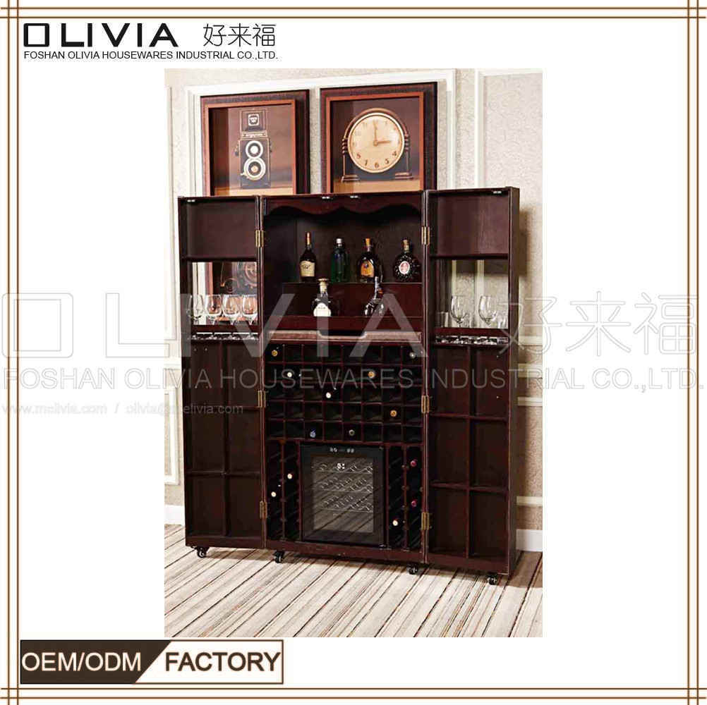 China French Retro Living Room Wooden Furniture Bar Cabinet Whisky Wine  Drinks Shelf Corner Liquor Cabinets With Refrigerator   China Wine Cabinet,  ...