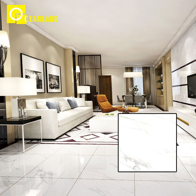 China White Marble Look Like Polished Porcelain Living Room Tile