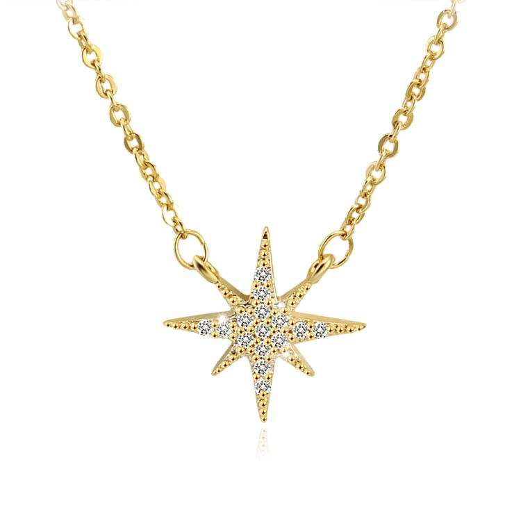 China Women Fashion Silver Long Necklace With Gold Plated Star Design China Necklace And Star Necklace Price