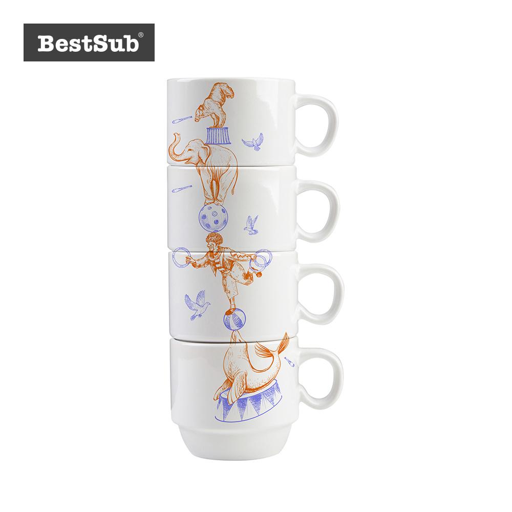 China Sublimation 8 Piece 8oz Stackable Ceramic Coffee Mug Set