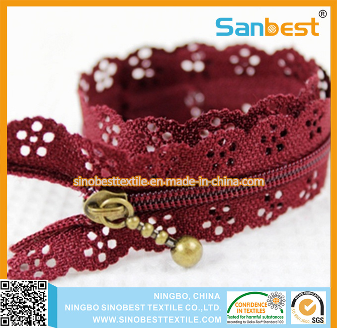 100% Nylon Lace Zipper for Suitcase pictures & photos