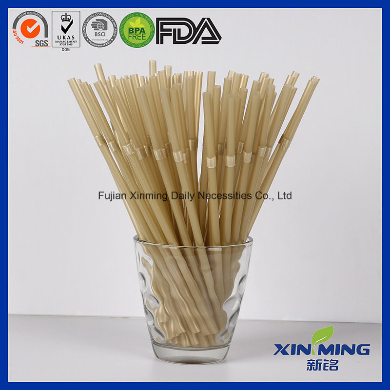 Golden Color Disposable Straw, Flexible Drinking Straw
