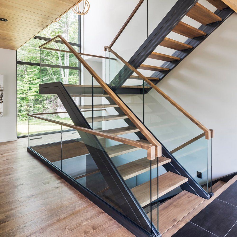 China Modern Design Powder Coated Carbon Steel Stairs With