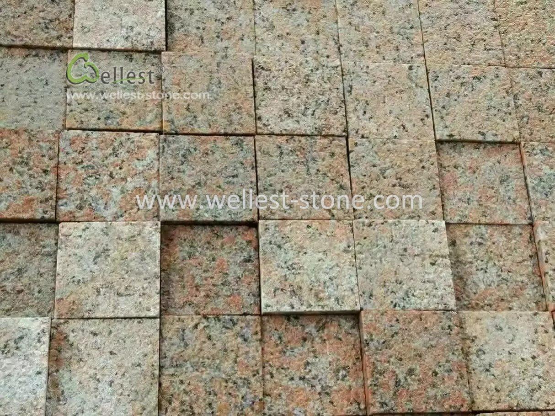 Bushhammered Red Granite Driveway Cobblestone, Granite Patio Pavers