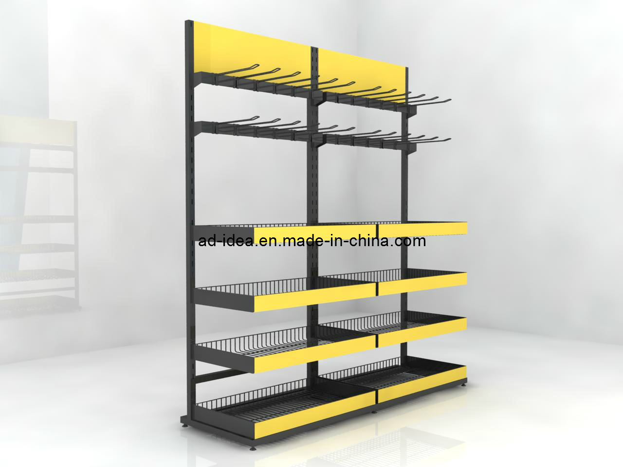 China Adjustable Two Sided Galvanized Wire Metal Floor Display Racks ...