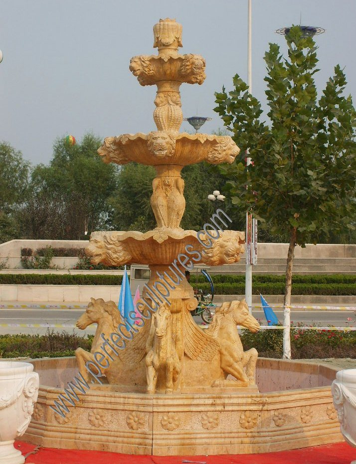 China Garden Stone Marble Water Pool Fountain with Carving